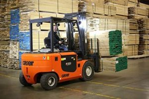 Carer Forklift Operator Reversing with Load of Lumber | Carer Electric Forklift