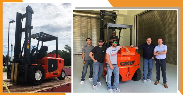 A Carer Electric forklift and team at NASA Site