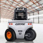 The back side of the Carer A 160-200 @ 1200X electric forklift