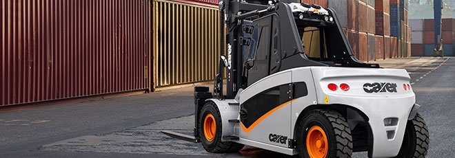 The back view of the new Carer A 160-200 1200X electric forklift truck at a port terminal
