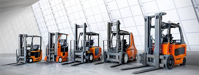 A lineup of CARER electric forklifts
